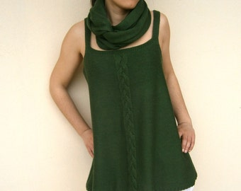SALE Knit Tunic With Big Plait in Deep Green