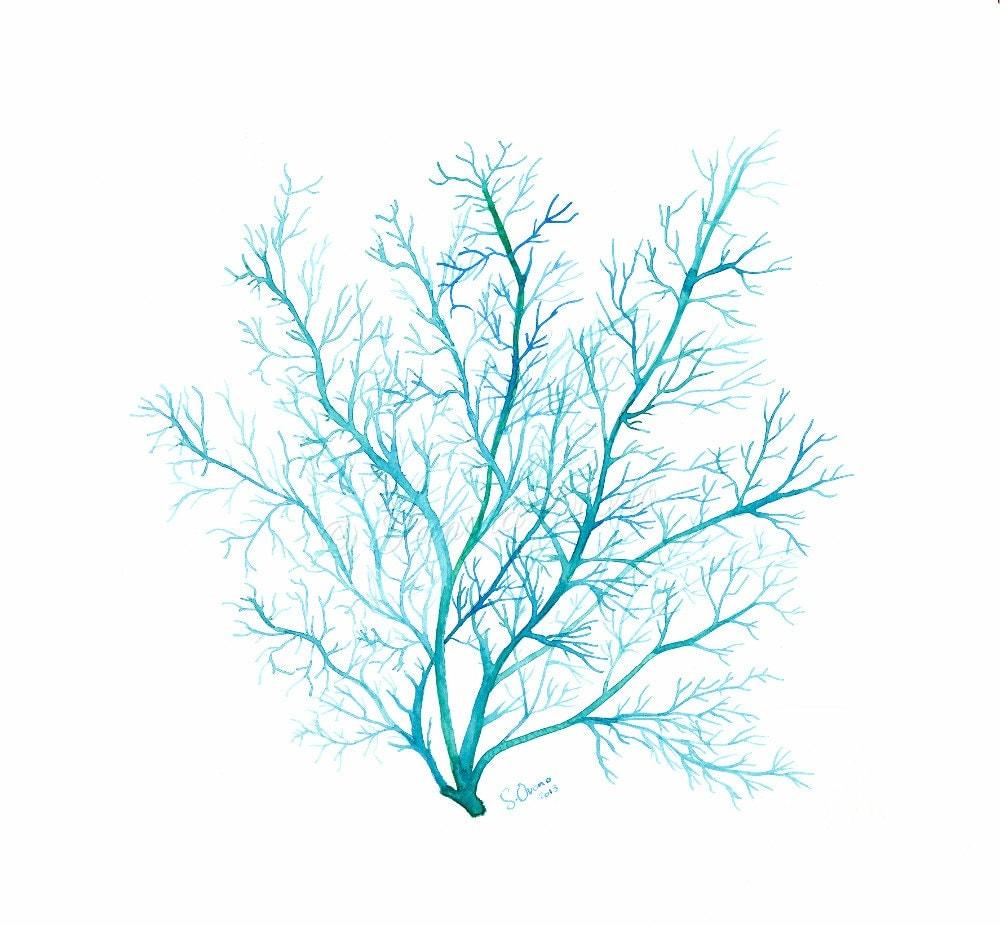 Turquoise blue Coral print watercolor sea fan illustration