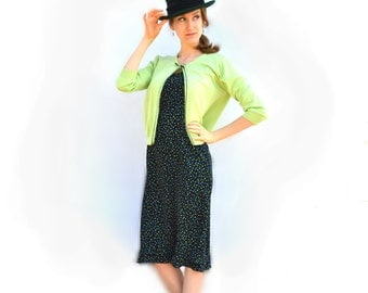 1970s R&K Originals Shift Two Piece Neon Lime Green Bow Cardigan Sweater with Matching Blue, Teal and Kiwi Polka Dot Mad Men Secretary Dress
