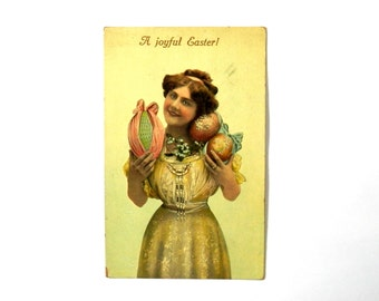 Antique Easter Post Card Real Photo Girl with Easter Eggs by Curt Teich & Co.