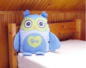 Stuffed Owl Pillow,  Personalized Owl,   Blue Polkadot Cotton Fabrics and Green Cotton Fabrics