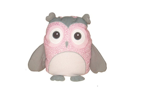 Pink Owl, Custom Baby Owl Pillowcase and Pillow, Monogrammed Gift for Baby Girl