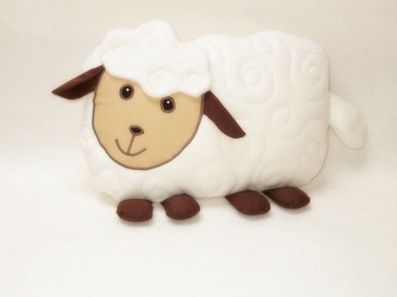 Sfuffed animal in handmade,  lamb  pillow, sheep shaped pillow, lamb kids room decoration, cream white  beige