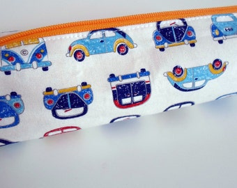 Pencil Case, Pencil Pouch, School Supply – Volkwagen VW Beetle Car Japanese Fabric – Bold and Bright - Toiletry & Cosmetics Bag