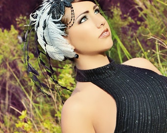 Black & White Party at Gatsby's Feather Fascinator