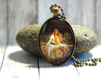 Oval Glass Pendant Necklace, 30mm x 40 mm -  John William Waterhouse Painting - The Lady of Shalott