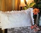 Vintage cotton lace white pillow