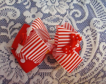 Red and White Bow - Polka Dot and Striped Bow - Puffy Bow - Fancy Bow - Fun Bow - Big Bow Look - Layered Bow - Ice Cream Bow - Boutique Bow