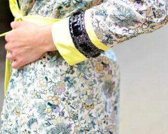 Shirt Dress, Floral Dress, Liberty Print Dress, Button Down Dress, Long Sleeves Dresses, Cotton Dresses, 3/4 Beaded Trim Sleeves, BESPOKE