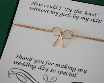 2 Anklets Tie the Knot Bow Rose Gold, Tie the Knot, Charm Anklet, Bow Anklet, Bridesmaid Gift, Gold Bow, Pink Knot Anklet, Thank you card