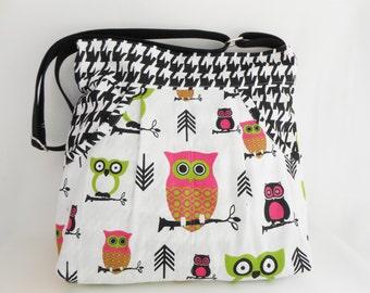 Owl Nautical Tote Bag  Hot Pink Apple Green and Black& White Massenger Bag