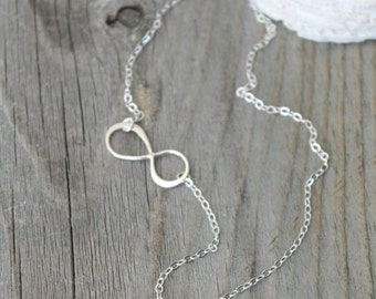 Most delicate all 925 sterling silver Sideway Infinity Necklace with initial disc stamped monogram custom letter A B C D E F G H I J K L M N