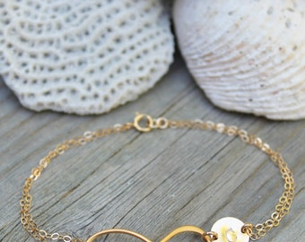 14kt gold filled infinity Bracelet with a personalized initial disc, custom stamped monogram letter, bridesmaids, graduation, gold vermeil