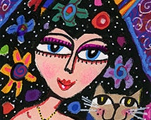 Whimsical Art Print, Cat And Girl Art, Cat Print, Woman Art, Black And Pink, Girls Room Decor, Señoritas Cat by Paula DiLeo_113111