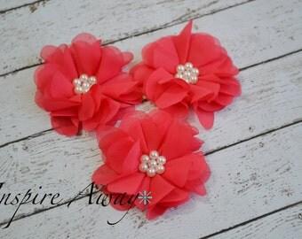 Set of 3- Coral Pearl Chiffon Flowers- Flower applique, fabric flower, wholesale flowers, chiffon flowers, headband supply