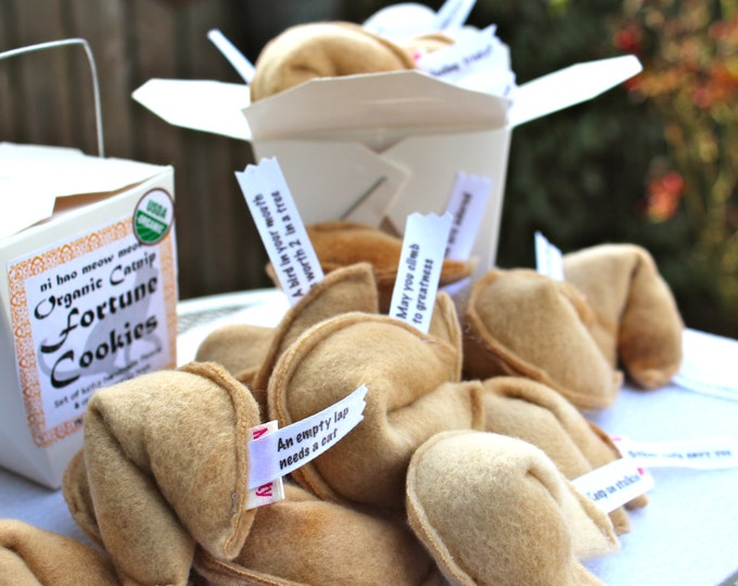 Featured listing image: Cat Fortune Cookies | Catnip Toys | Organic Catnip | Cat Toys | Fortune Cookies | set of 4 in Fun Take Out Container
