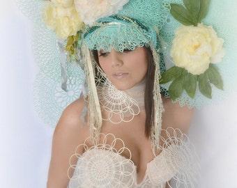 Lace,floral,MINT,green,headpiece,Crown,headdress,hat,art nouveau,high fashion, headpiece