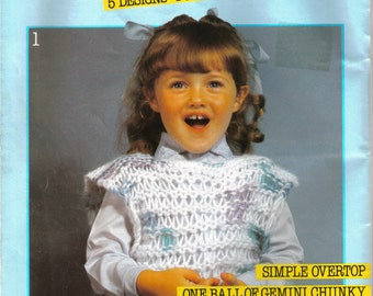 Loose-Knit Sweaters and Vests for Girls From Gemini Chunky Sirdar Ffizzknits   Chest Size 22 - 28