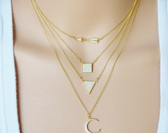 Pave Cubic Zirconia Gemstone Pendants....Layering Necklace...Bridesmaid/Simple/Celebrity Style