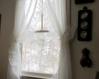 Vintage Pair Of White Sheer Ruffled Window Treatments