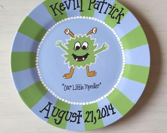 Hand Painted Striped Birth Plate for Baby or Child; Monster