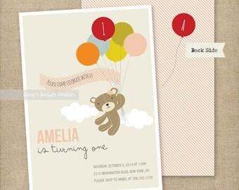 Girl Teddy bear and balloons birthday invitation | Printable