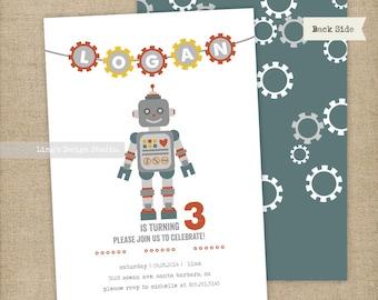 Robot Birthday Invitations Set | Printable or Printed