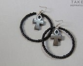 Afrocentric Egyptian Ankh Hoop Earrings