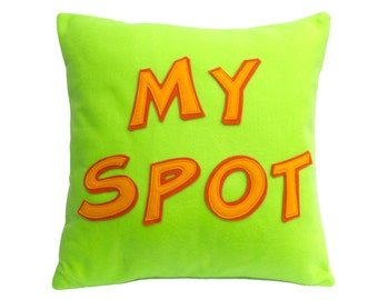 My Spot- Appliqued Eco-Felt Pillow Cover in Neon Green, Orange, and Tangerine - 18 inches