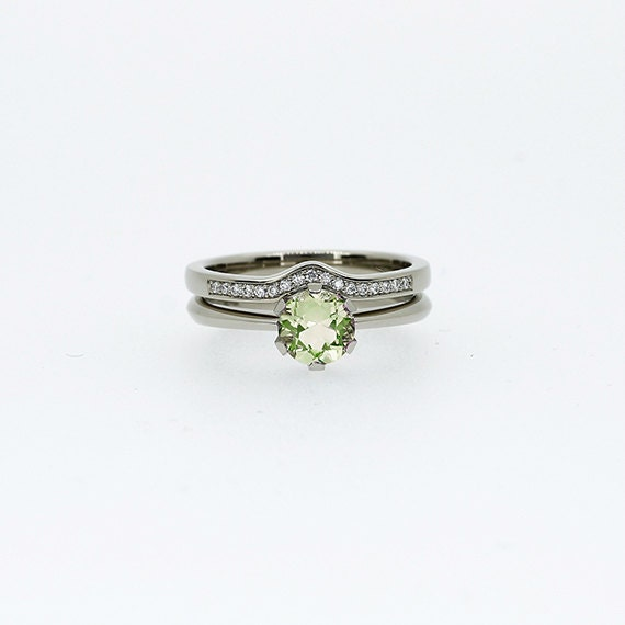 Engagement ring set peridot ring engagement by for Peridot wedding ring set