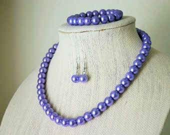 """Necklace, Bracelet, and Earring Set in """"Lovely Lavender"""" - Everyday, Fancy, or Bridesmaid Complete Set"""