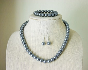 Necklace, Bracelet, and Earring Set in Gray - Everyday, Fancy, or Bridesmaid Complete Set