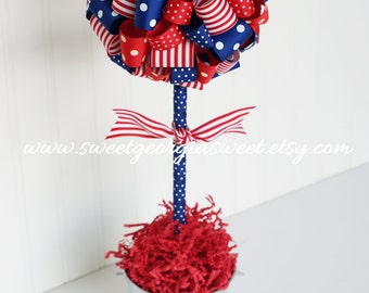 USA PATRIOTIC Ribbon Topiary Tree in Red, White, and Blue.  Stripes & Polka Dots. 4th of July.