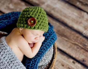 Green Baby Hat 0 to 3 Month Baby Girl Hat Baby Boy Hat Wood Button Baby Beanie Baby Cap Green Grass Photo Prop Baby Clothes Baby Shower Gift