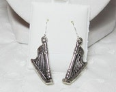 Silver Plated Harp Earrings Tiny Harps Musical Jewelry Double-Sided