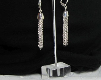 Silver or Gold Plated Tassel Earrings Dangle Chain Fringe Jewelry