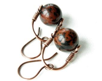 Oxblood & black earrings - copper wire wrapped gemstone bead