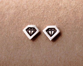TINY Sterling Silver Diamond Stamped Post Earrings
