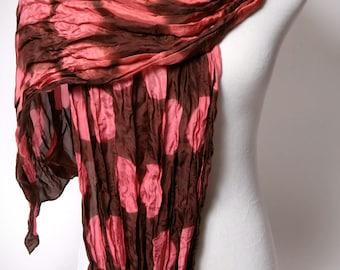 Polka Dot  Silk Scarf Brown and Pink // Crinkled Silk Circle Scarf Hand Dyed Shibori Scarf Modern