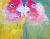 Lovebirds ACEO Original Painting Acrylic Artwork Nature Animal Card