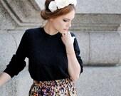 White silk floral crown / Silk flower headband for women / leather / wedding / Party