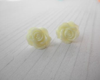 Ivory Rose Post Stud Earrings