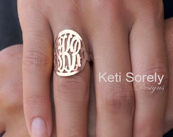 """Personalized Monogram Initials Ring 1"""" (Order Any Name) - 10K/14K Rose Gold, 14K GoldFilled or Sterling Silver and Rose Gold overlay."""