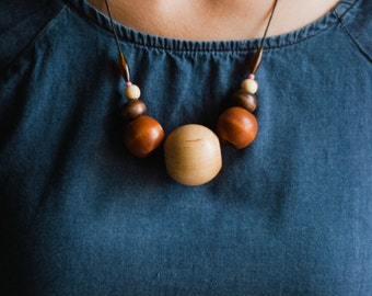 Vintage wood bead necklace, unique large chunky statement necklace