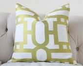 Reserved for Sue ONLY Designer Citron Pillow Cover - Chartruese White Geometric Geometric Throw Pillow -Modern Spring Pillow Cover