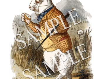 The White Rabbit Printable Download Tenniel Illustration - Alice In Wonderland (1890)