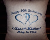Personalized Anniversary Pillow ~  Any # of years 10th 25th 50th 60th 75th ~ YOUR Color Choice!