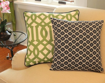 Set of Two Schumacher Pillow Covers in Green and Navy