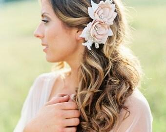Bridal Champagne Flower Headpiece. Bridal Champagne Flower Hair Comb.