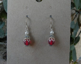 Silver and Blood Red Czech Glass Earrings